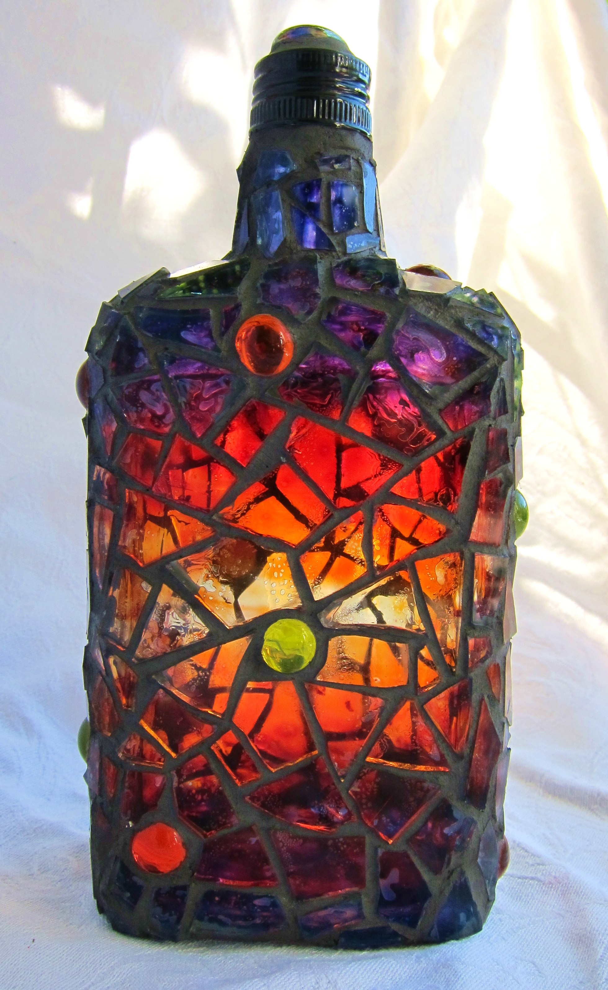 frances green painted mosaic bottle